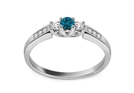 Verlobungsring mit Diamanten 0,230 ct Blue Diamond