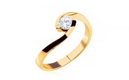 Verlobungsring mit Diamanten 0,150 ct Lines Of Love Yellow