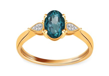 Gold Verlobungsring mit London Blue Topas und Brillanten 0,020 ct