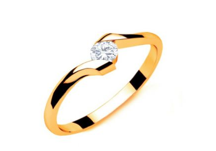 Verlobungsring mit Diamanten 0,100 ct Lines Of Love 7 Yellow