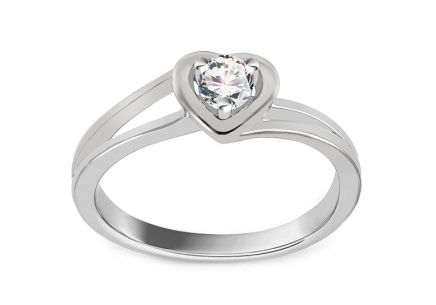Verlobungsring mit Diamanten 0,150 ct Sweet Heart white